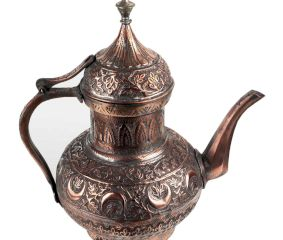 Copper Tea Pot With Fine Middle Eastern Carving
