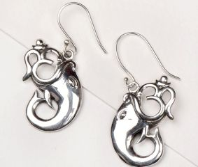 92.5 Sterling Silver Earrings Jagdamba Lord Ganesha with Om Silver