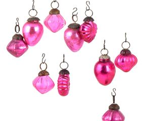 Set of 25 Handmade Pink Glass Christmas Ornaments In Assorted Styles