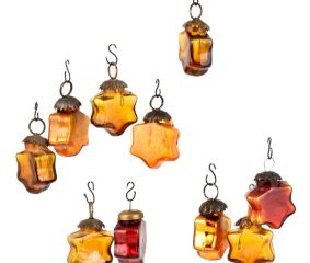 Set of 25 Handmade Sunset Yellow Colored  Glass Christmas Ornaments In Assorted Styles
