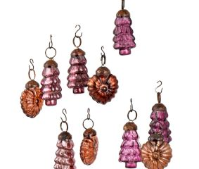 Set of 25 Handmade Purple And Red Glass Christmas Ornaments In Assorted Styles