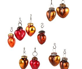 Set of 25 Handmade Golden And Red Glass Christmas Ornaments In Assorted Styles