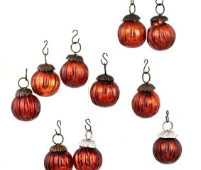 Set of 25 Small Mini Handmade Red Onion Shaped Glass Christmas Ornaments