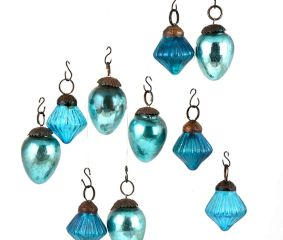 Set of 25 Handmade Glossy Blue Glass Christmas Ornaments In Assorted Styles
