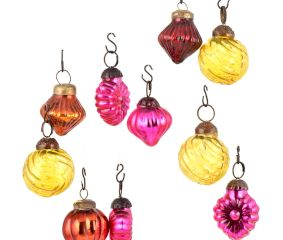 Set of 25 Handmade Pink Rust And Yellow Glass Christmas Ornaments In Assorted Styles