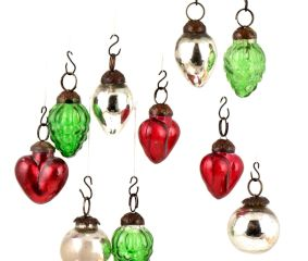 Set of 25 Handmade Green Red And Silver Mini Christmas Ornaments In Assorted Styles
