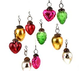 Set of 25 Handmade Multicolored Mini Christmas Ornaments In Assorted Styles