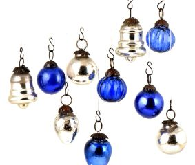 Set of 25 Handmade Silver And Blue Mini Christmas Ornaments In Assorted Styles