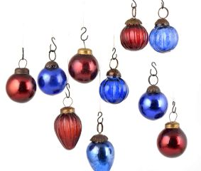 Set of 25 Handmade Red And Blue Mini Christmas Ornaments In Assorted Styles