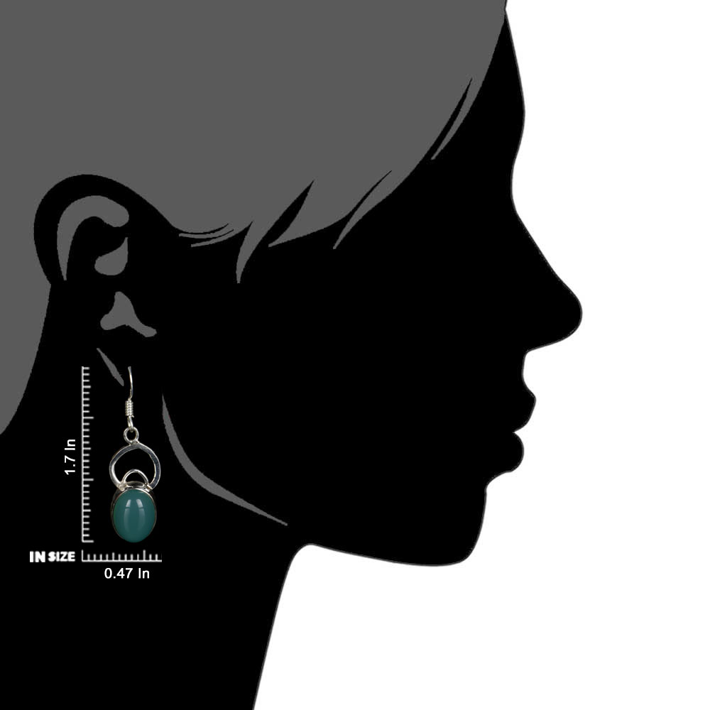 92.5 Sterling Silver Earrings Oval Chalcedony Modern Everyday Wear Earrings