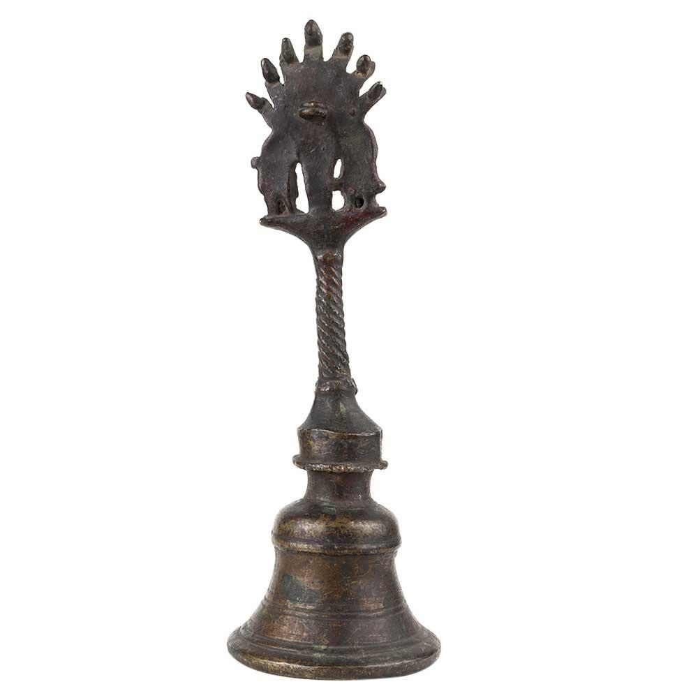 Brass Puja Bell With Two Garuda Figurine God Handle