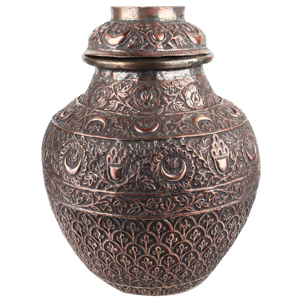 Copper Repousse Leafy Floral Hand Made Lidded Jar Or Pot