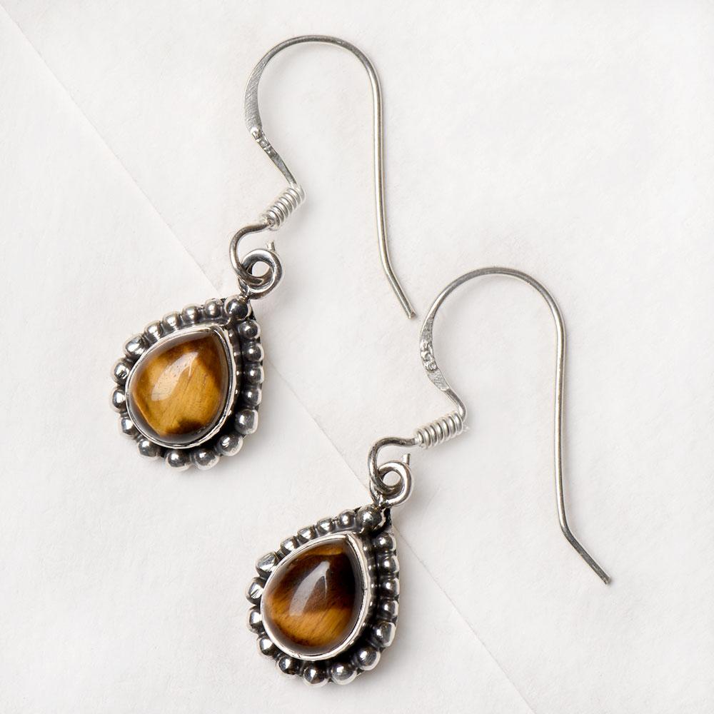 92.5 Sterling Silver Tiger Eye Stone Earring Indian Fashion Earrings