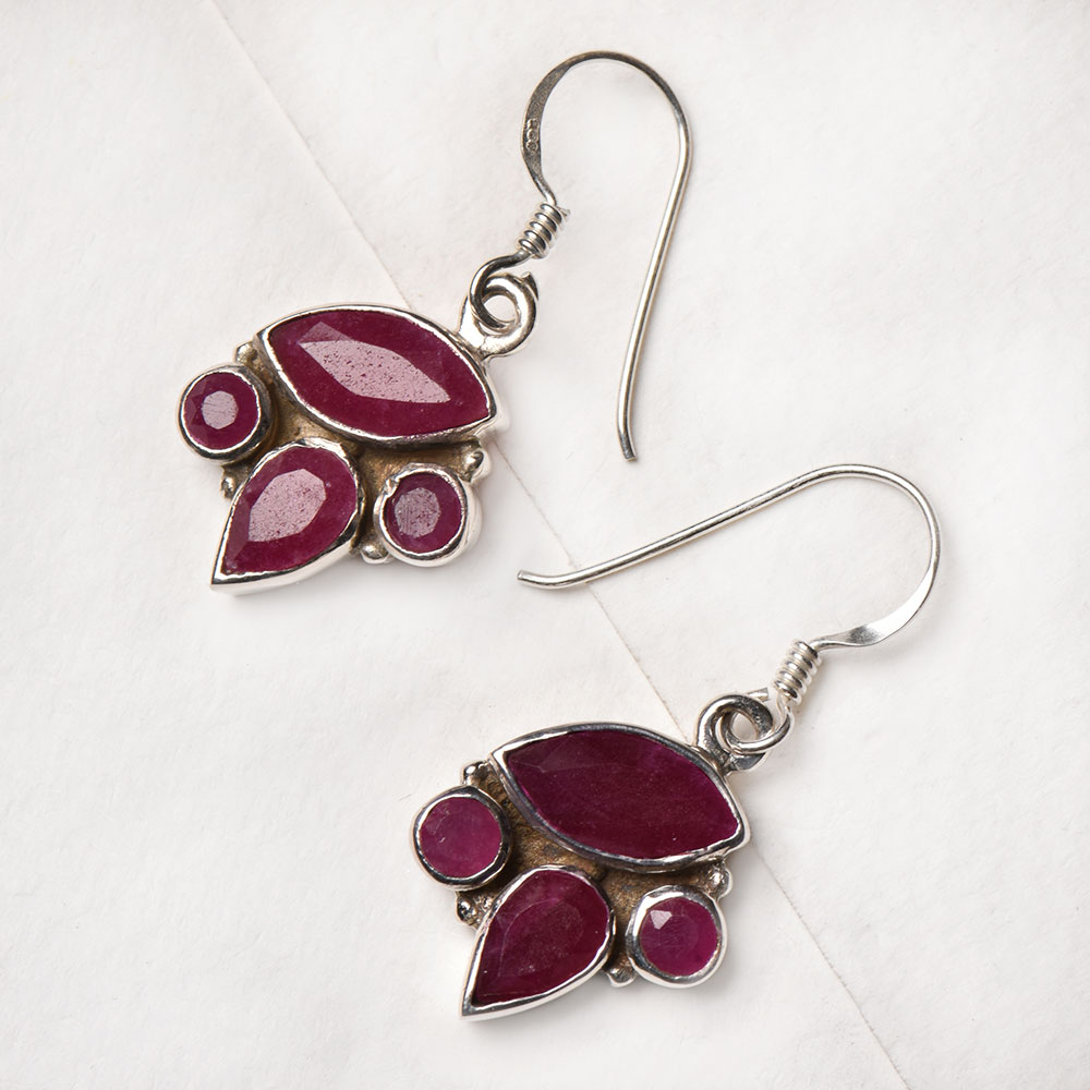 92.5 Sterling Silver Earrings Four Studded Pink Tourmaline Designer Earrings