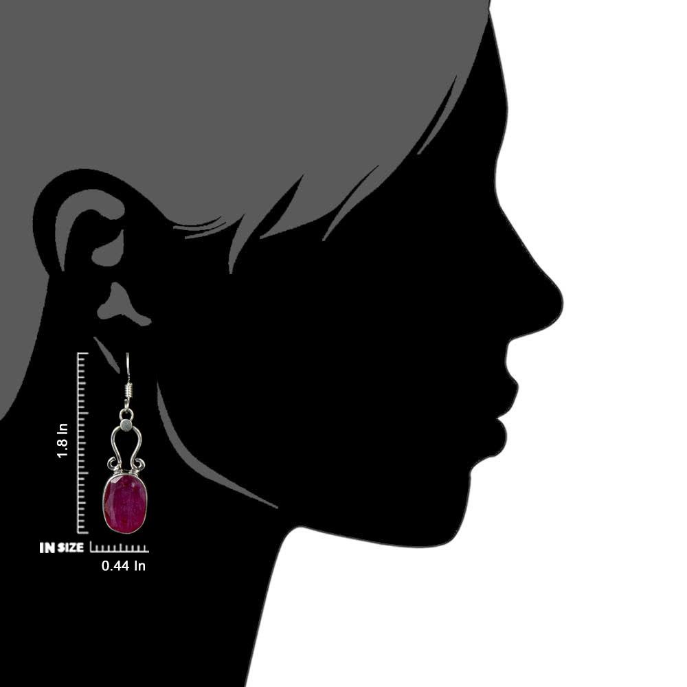 92.5 Sterling Silver Earrings Hook Style Pink Tourmaline Dangler Earrings