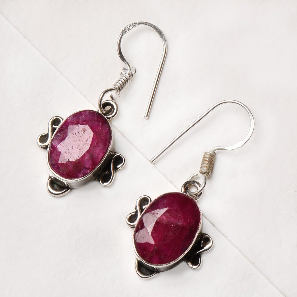 92.5 Pink Tourmaline Sterling Silver Earrings Semi Precious Stones Earrings