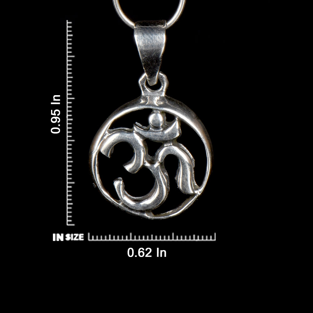 92.5 Sterling Silver Om Pendant In Round Frame for Men and Women