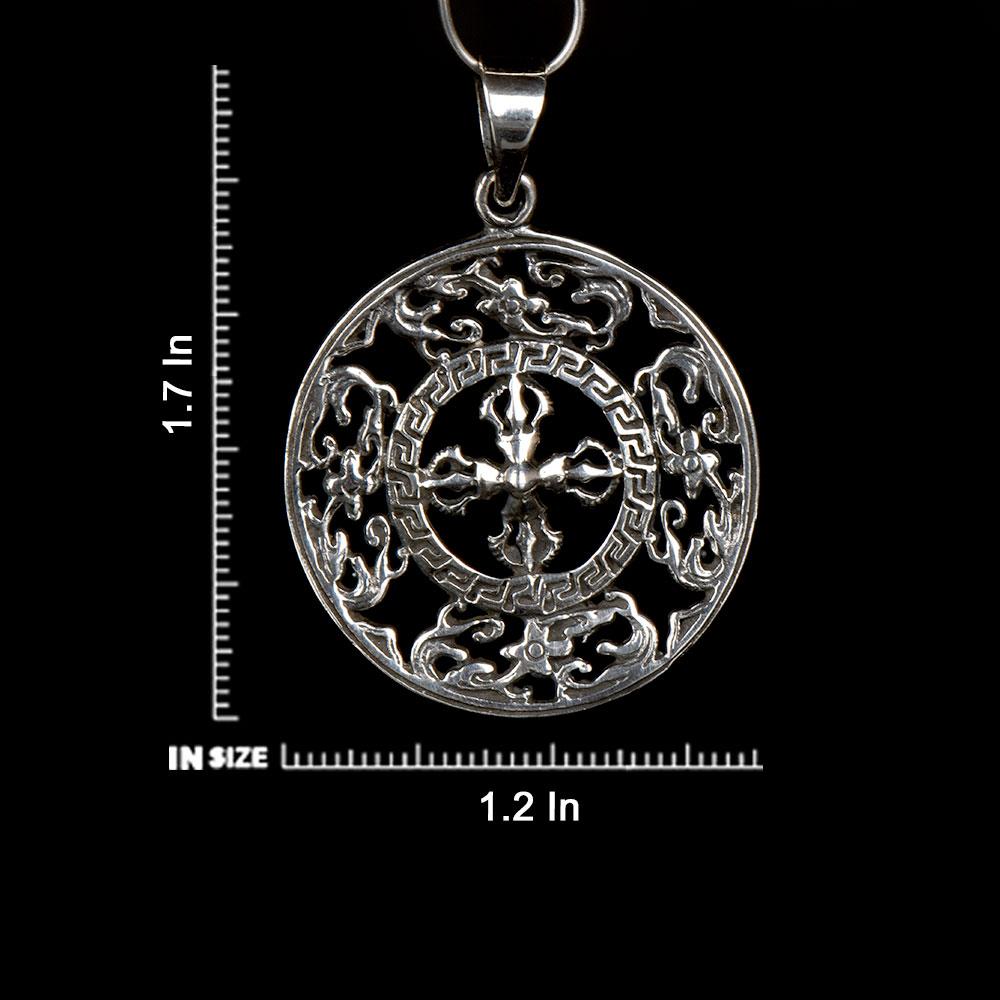 Handmade 92.5  Sterling Silver Viswa Vajra Dorje Pendant For Men And Women