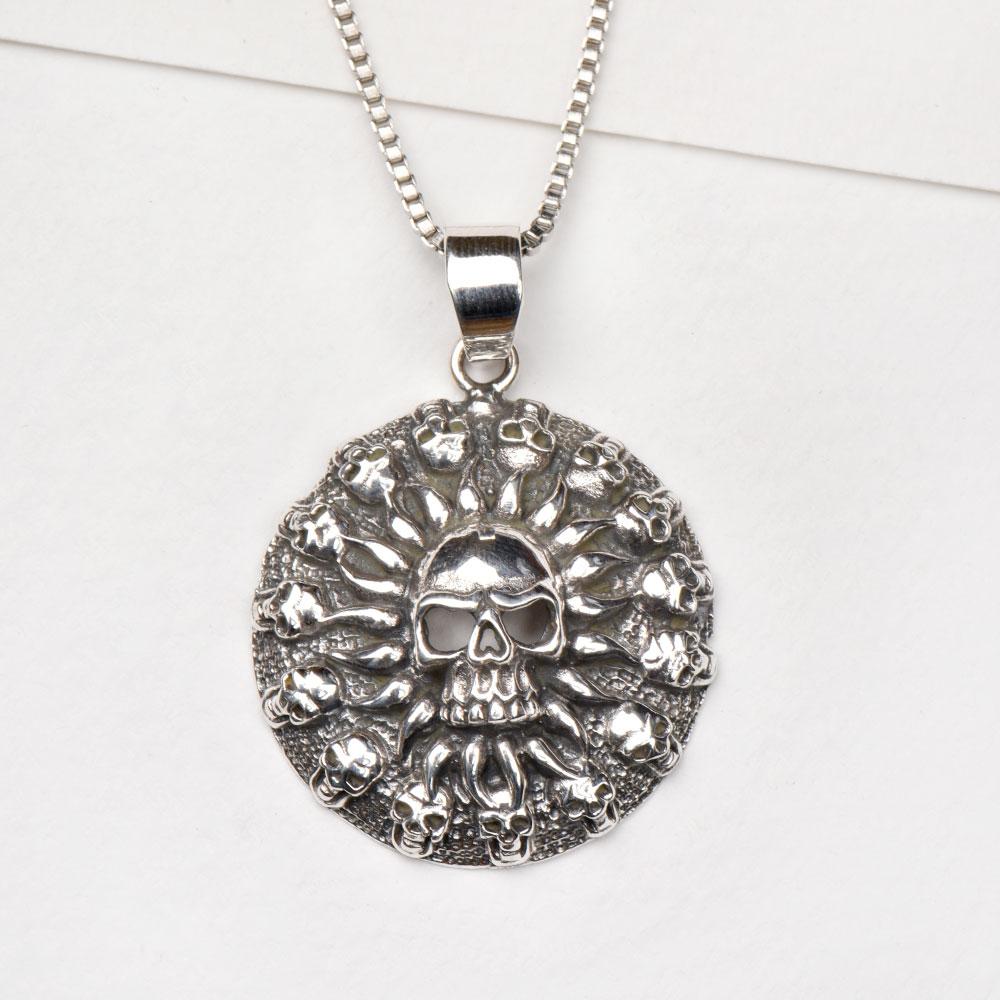 92.5 Sterling silver Pendant Circle of Skulls For Men