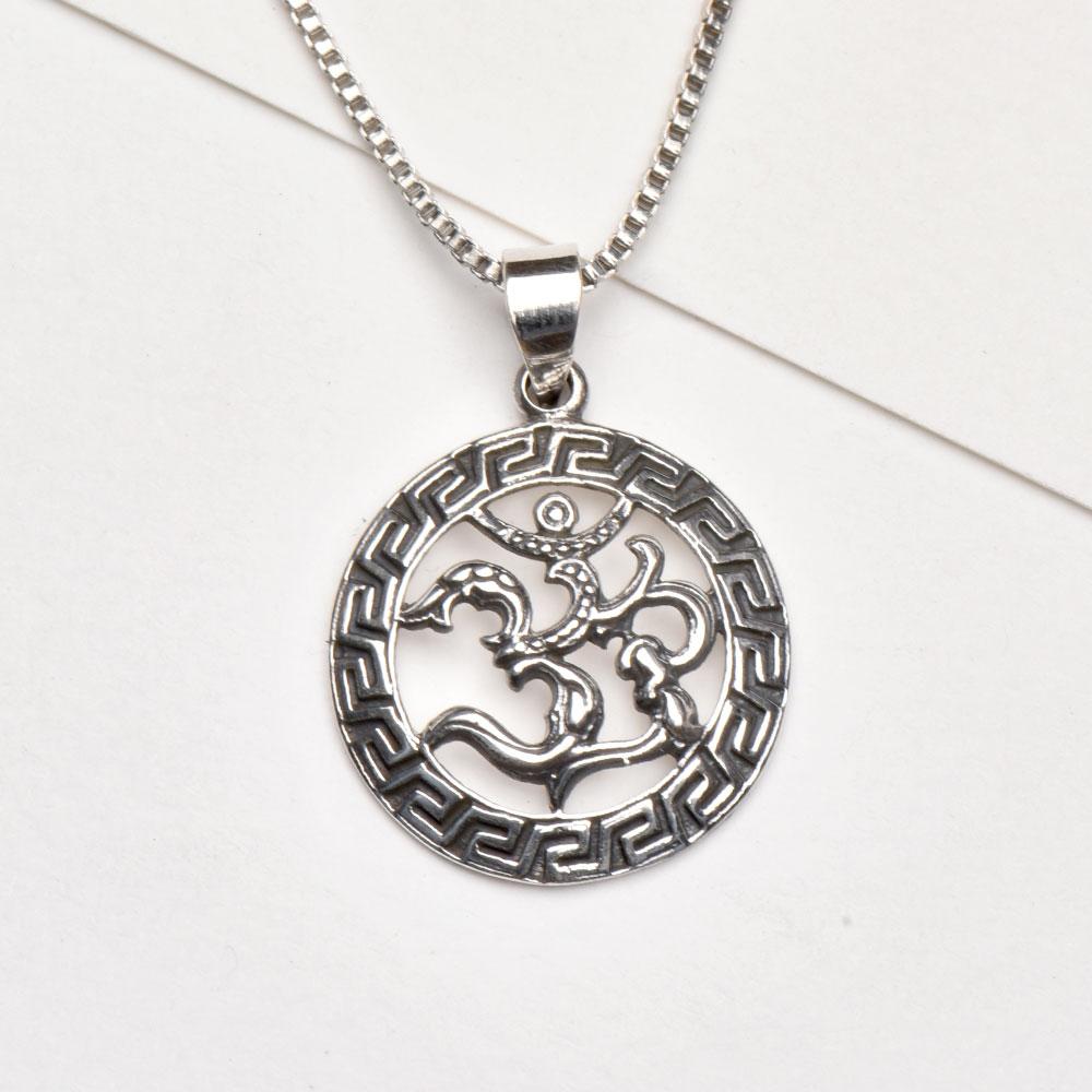 Handmade Ornate Aum or Om 925 Sterling Silver Pendant
