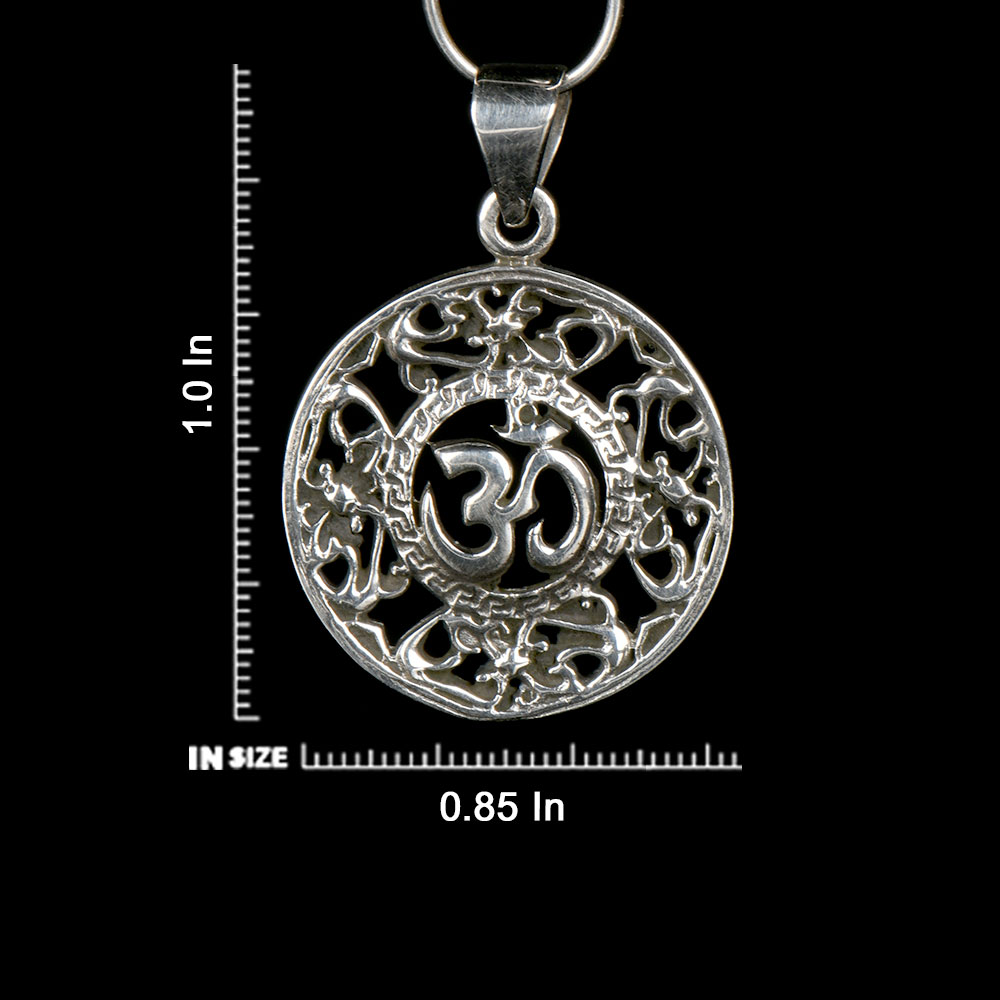 92.5 Sterling Silver Om Design  Floral Jali work Filigree Pendant