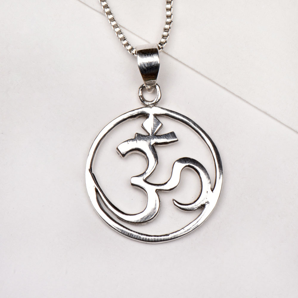 92.5 Sterling Silver Om Pendant Spiritual Jewellery