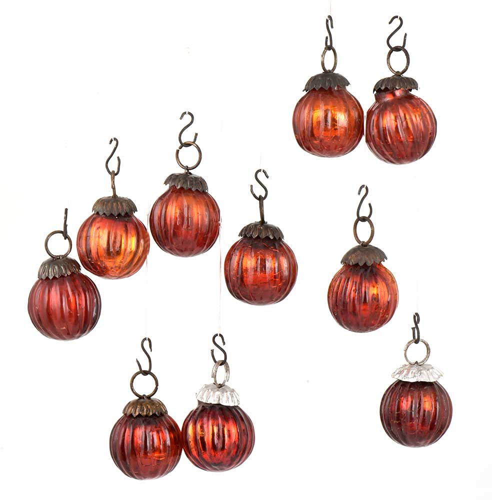Set of 10 Small Mini Handmade Red Onion Shaped Glass Christmas Ornaments