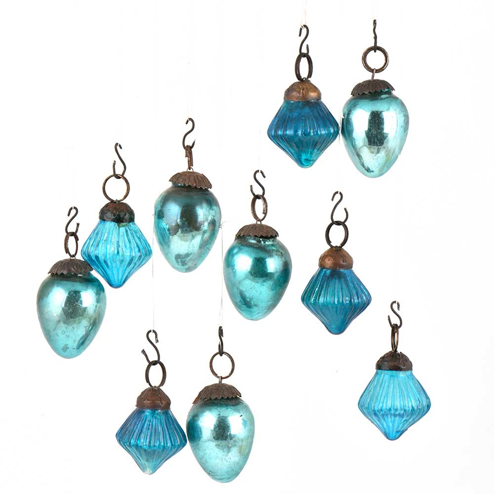Set of 10 Handmade Glossy Blue Glass Christmas Ornaments In Assorted Styles