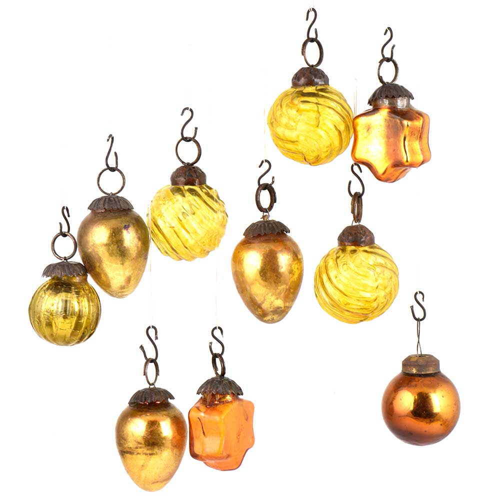 Set of 10 Handmade Golden And yellow Glass Christmas Ornaments In Assorted Styles