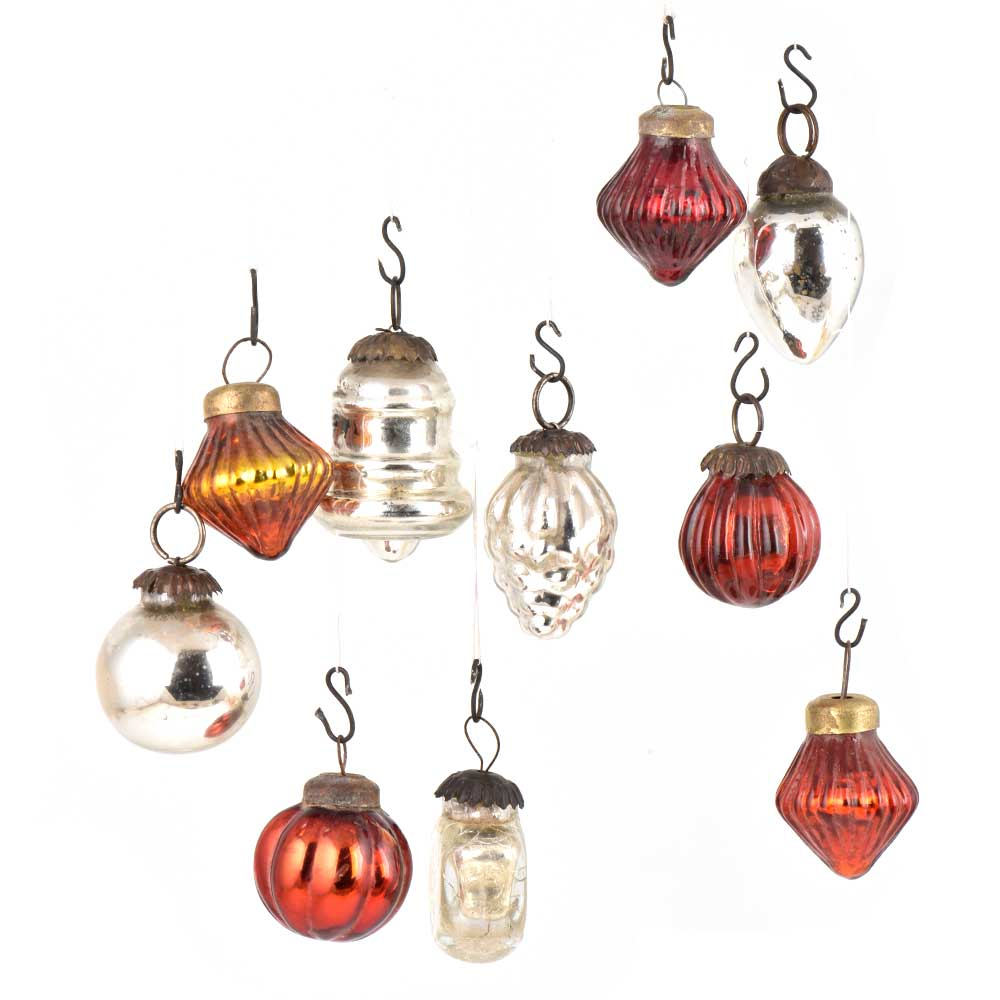 Set of 10 Handmade Silver And Rust Glass Christmas Ornaments In Assorted Styles