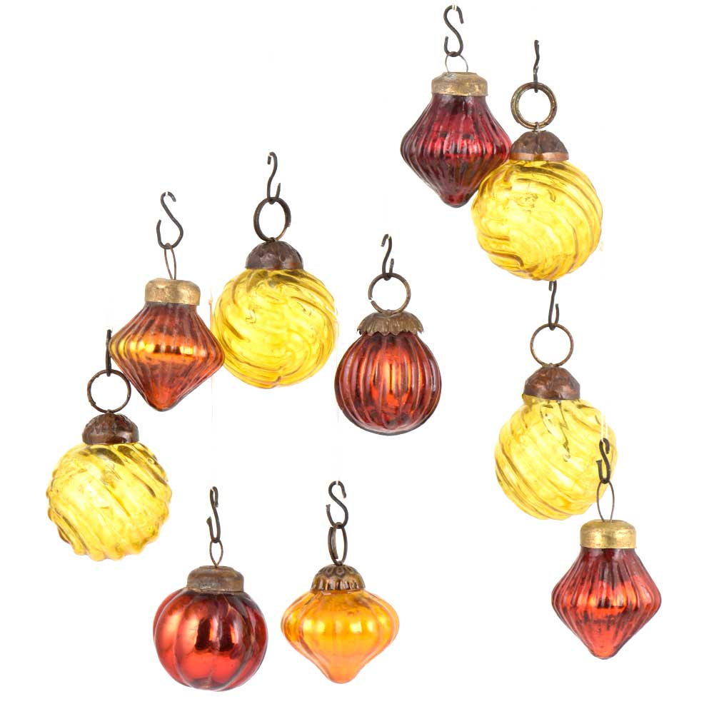 Set of 10 Handmade Rust And Yellow Glass Christmas Ornaments In Assorted Styles