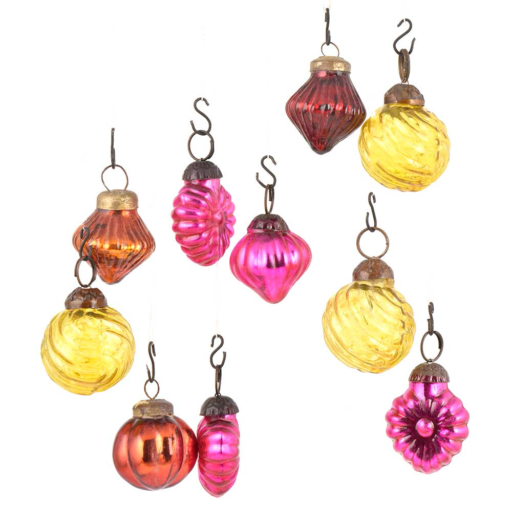 Set of 10 Handmade Pink Rust And Yellow Glass Christmas Ornaments In Assorted Styles