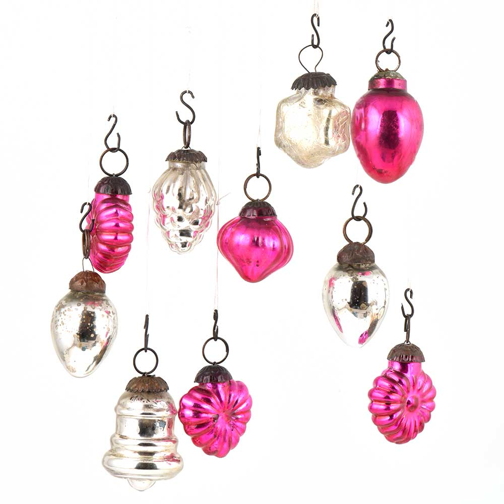 Set of 10 Handmade Pink  And Silver Glass Christmas Ornaments In Assorted Styles