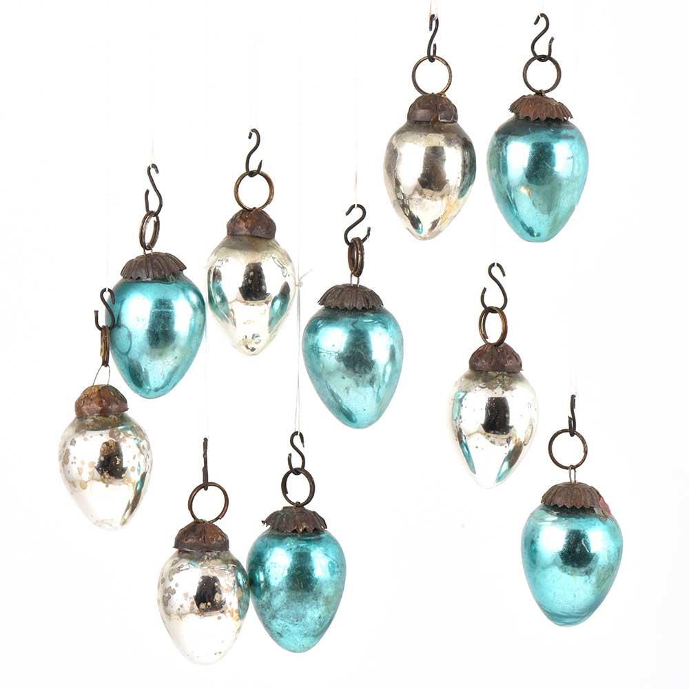 Set of 10 Handmade Blue And Silver Mini Drop Style Christmas Ornaments