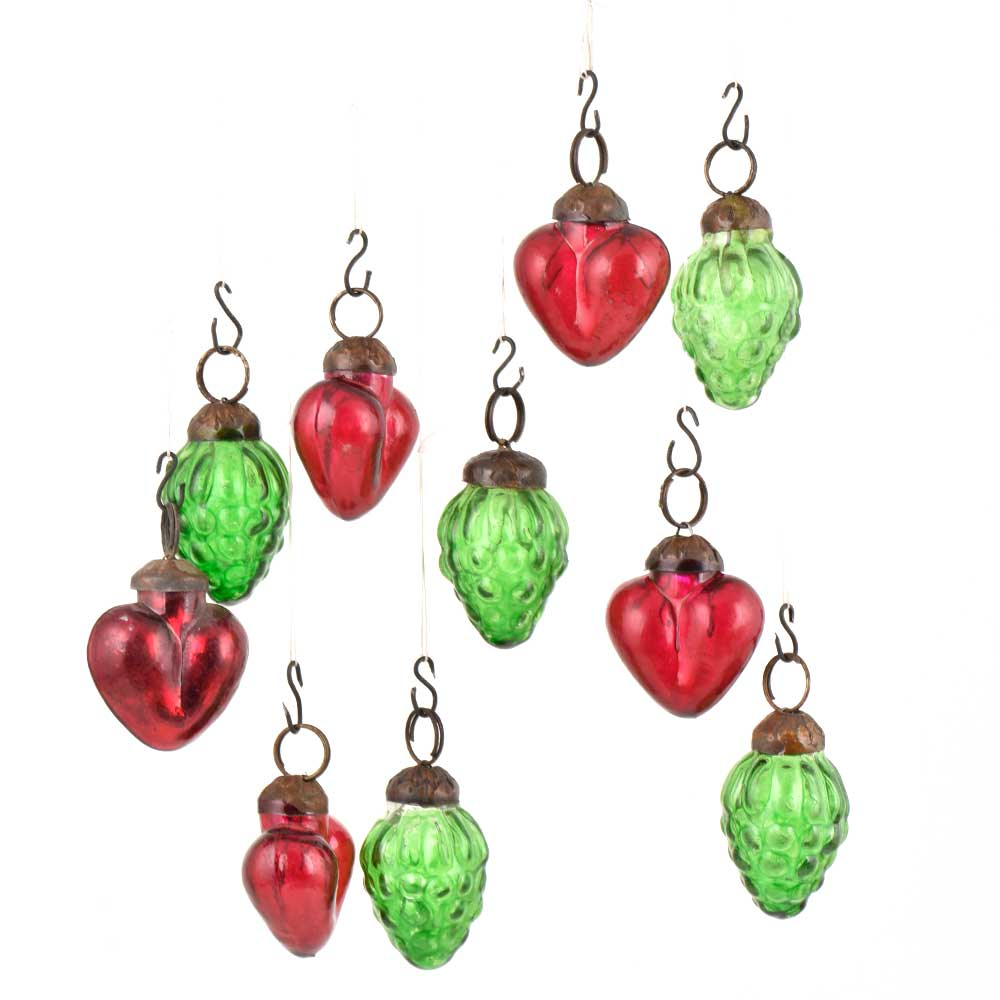 Set of 10 Handmade Green And Red Mini Christmas Ornaments In Assorted Styles