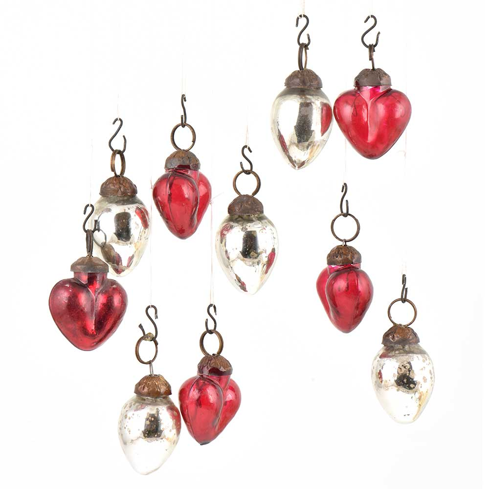 Set of 10 Handmade Red And Silver Mini Christmas Ornaments In Assorted Styles