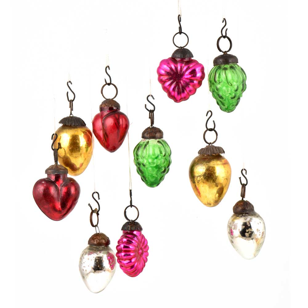 Set of 10 Handmade Multicolored Mini Christmas Ornaments In Assorted Styles