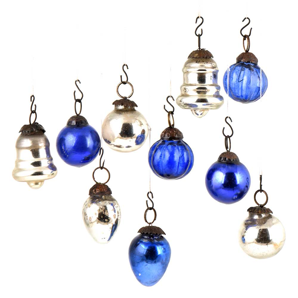 Set of 10 Handmade Silver And Blue Mini Christmas Ornaments In Assorted Styles
