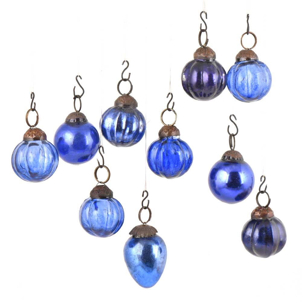 Set of 10 Handmade Ever Blue Mini Christmas Ornaments In Assorted Styles