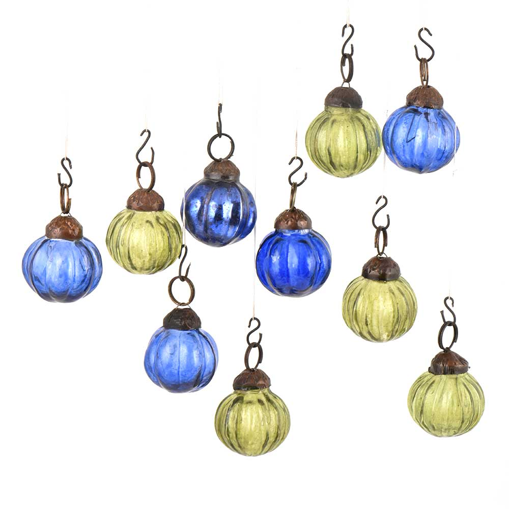 Set of 10 Handmade Olive And Blue Mini Onion Shaped Christmas Ornaments
