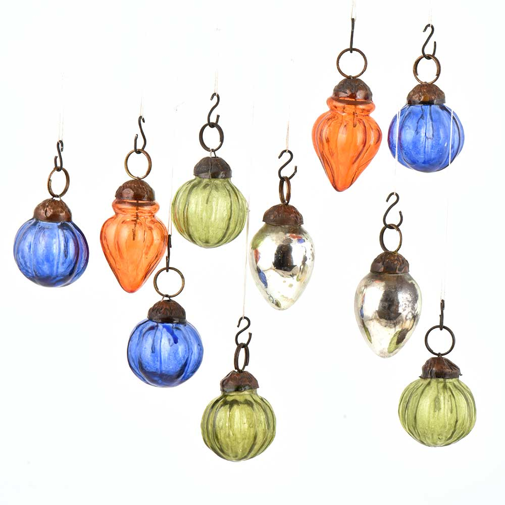 Set of 25 Handmade Olive Blue Orange And Silver Mini Christmas Ornaments In Assorted Shapes