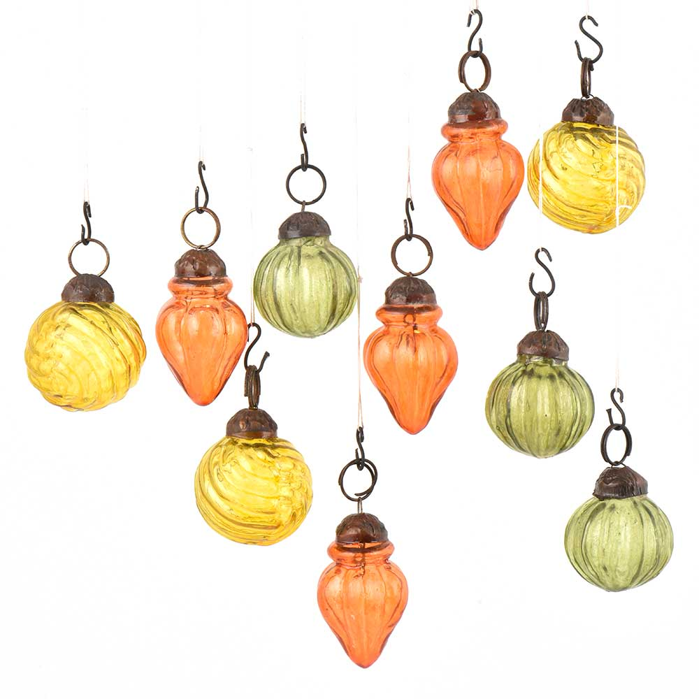 Set of 10 Handmade Olive Orange And Yellow Mini Christmas Ornaments In Assorted Styles