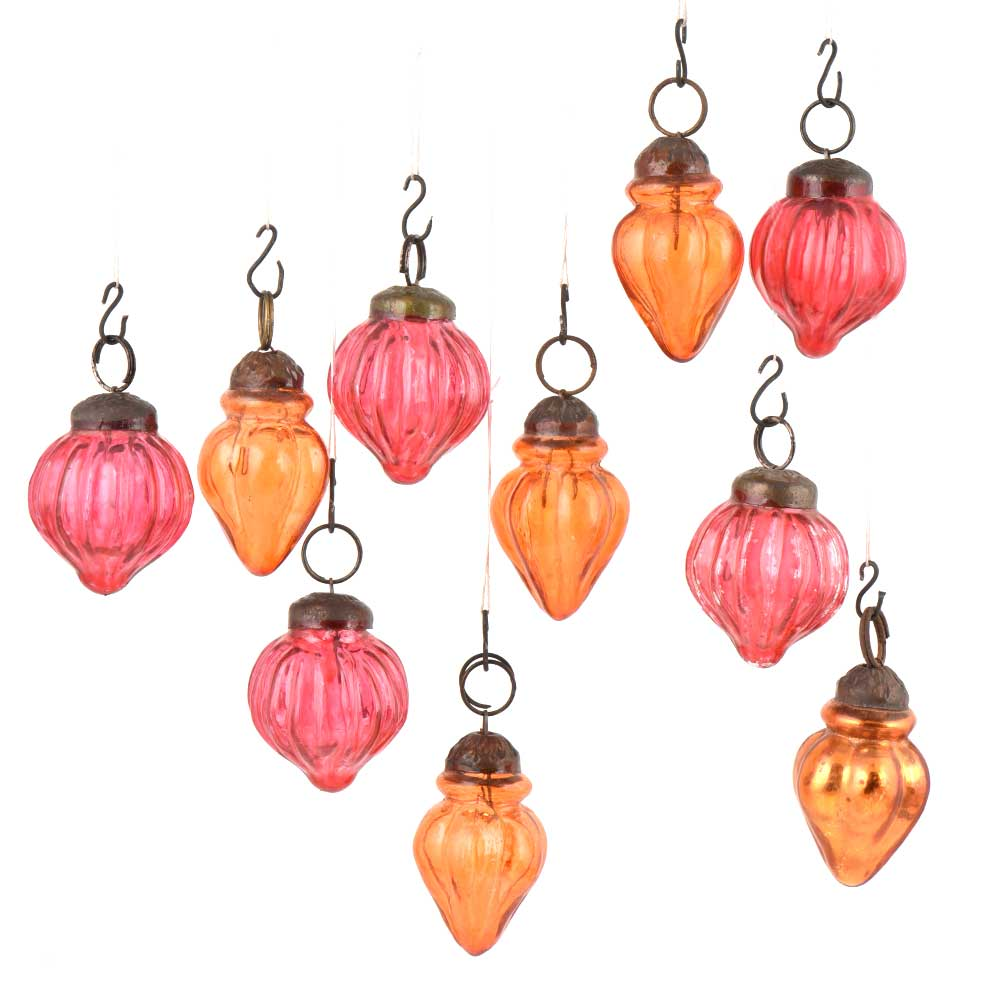 Set of 10 Handmade Pink And  Orange Mini Christmas Ornaments In Assorted Styles