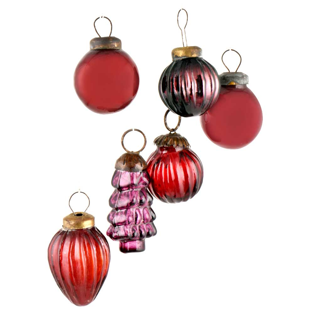 Set of 6 Handmade Red And Purple Mini Christmas Ornaments In Assorted Styles