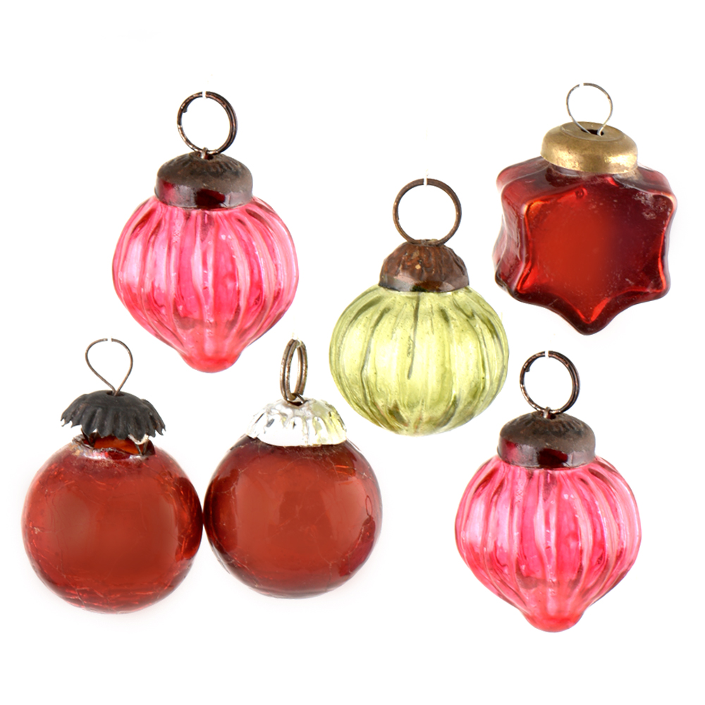 Set Of 6 Handmade Red Pink And Olive Mini Christmas Ornaments In Assorted Styles