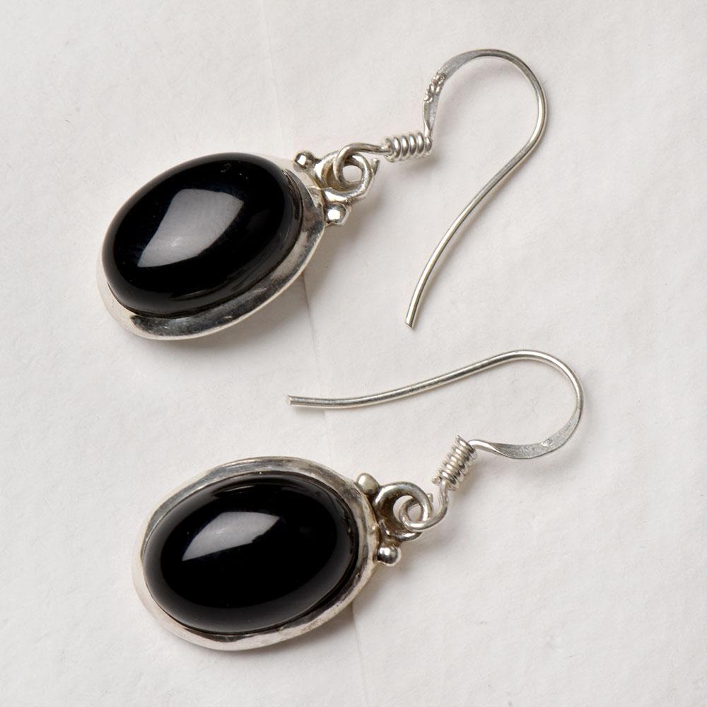 Brass Leaf Sterling Silver Post Blue Onyx Dangle Earrings