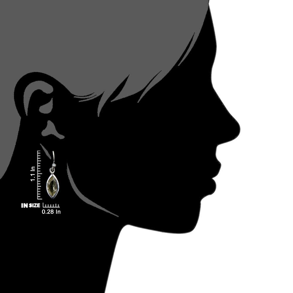 92.5Sterling Silver Earrings With Big Oval Topaz Stone Drop Earrings