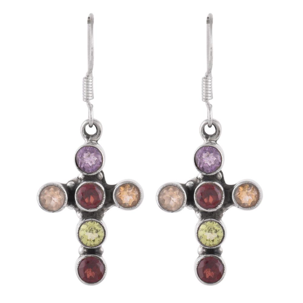92.5 Sterling Silver Earrings Multi Stone Holy Cross Design Dangler Earrings