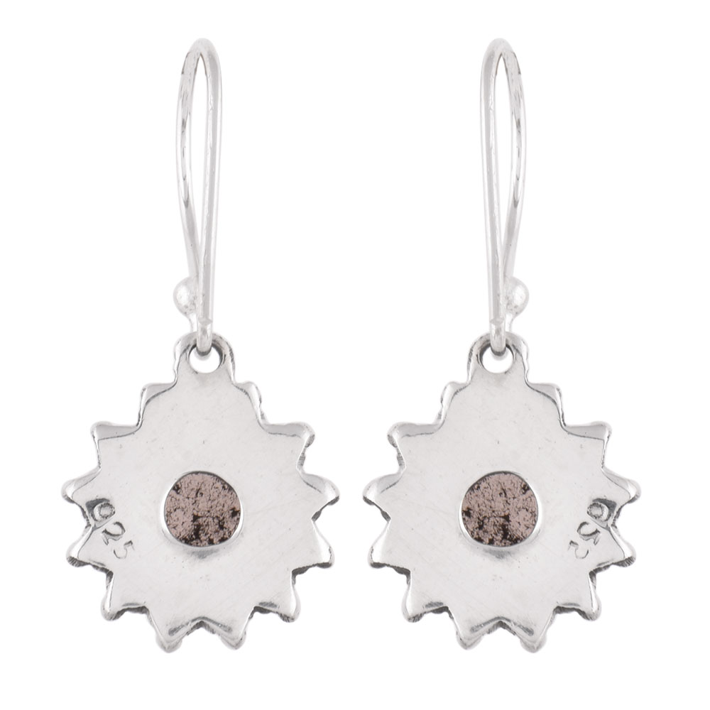 92.5 Sterling Silver Earrings Round Jasper Snowflakes Designer Earrings