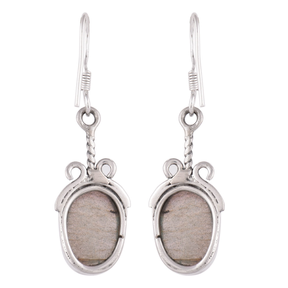 92.5 Sterling Silver Earrings Big Oval Jasper Stone Set In Rope Border Design
